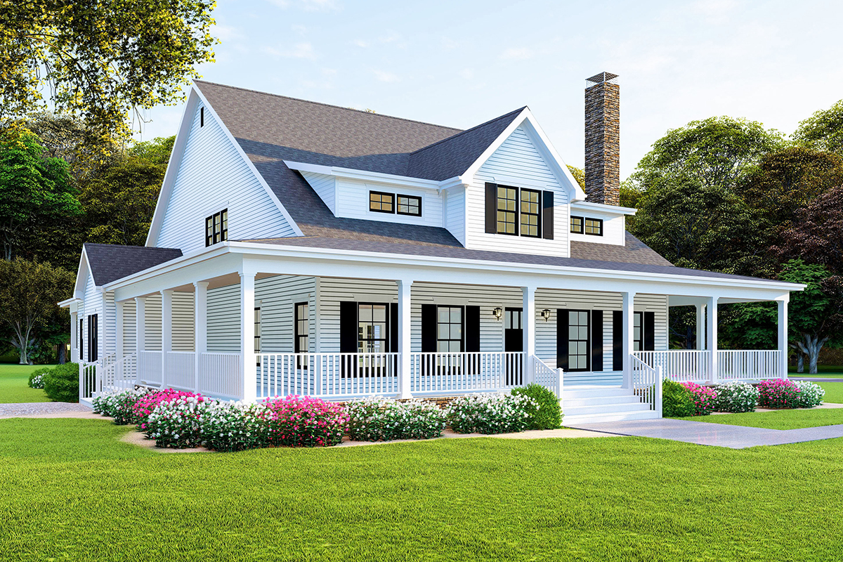 Modern Farmhouse Plan With Wraparound Porch 70608mk Architectural Designs House Plans