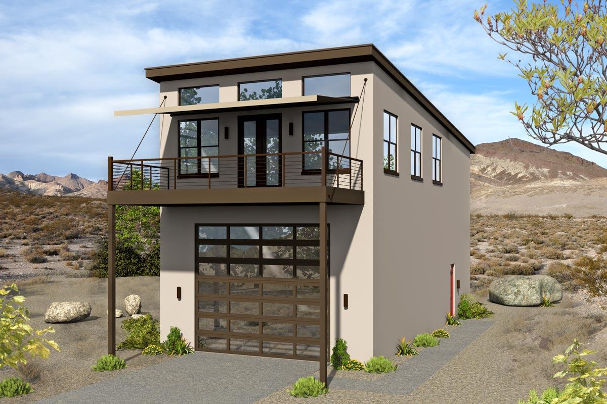 Modern Home Plan Atop an RV Garage - 68570VR ...