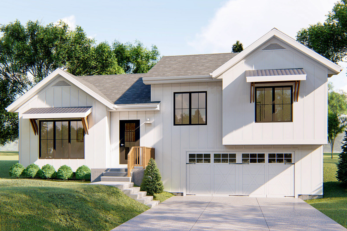 Split Level New American House Plan with Cathedral Ceiling ...