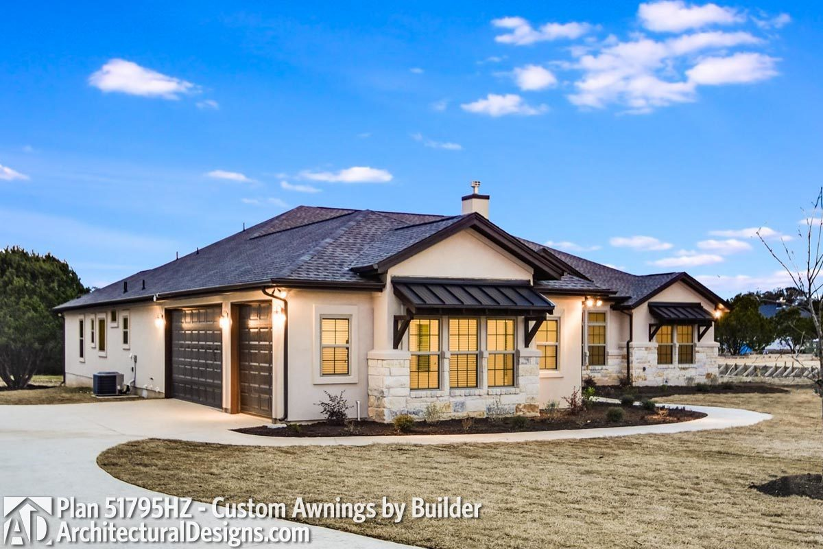 Plan 51795HZ: One-Story Living 4-Bed Texas-Style Ranch Home Plan on one level victorian house plans, one level colonial house plans, english cottage house plans, log home plans, one level townhome plans,