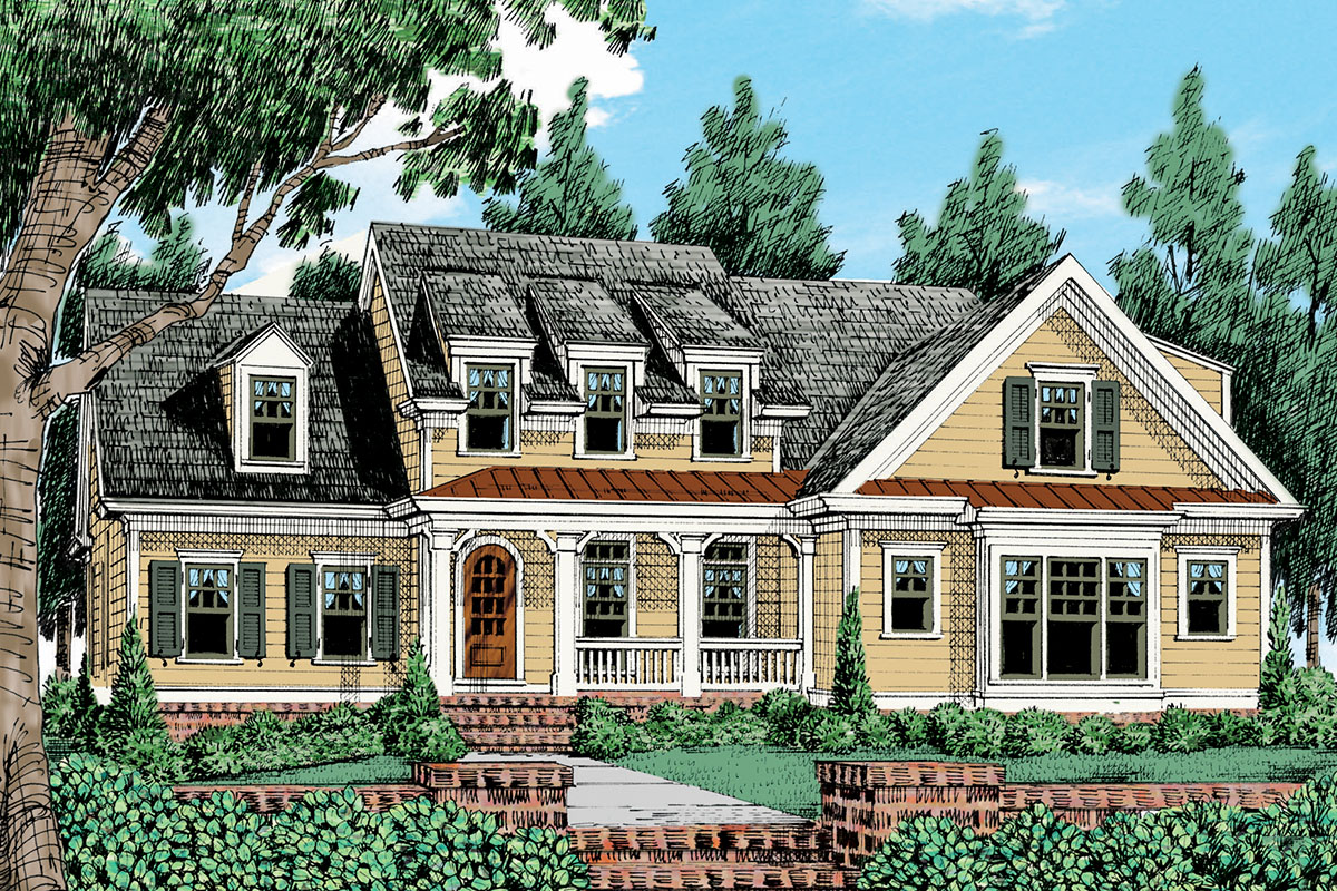 Modern Farmhouse Plan With Gable And Shed Dormers