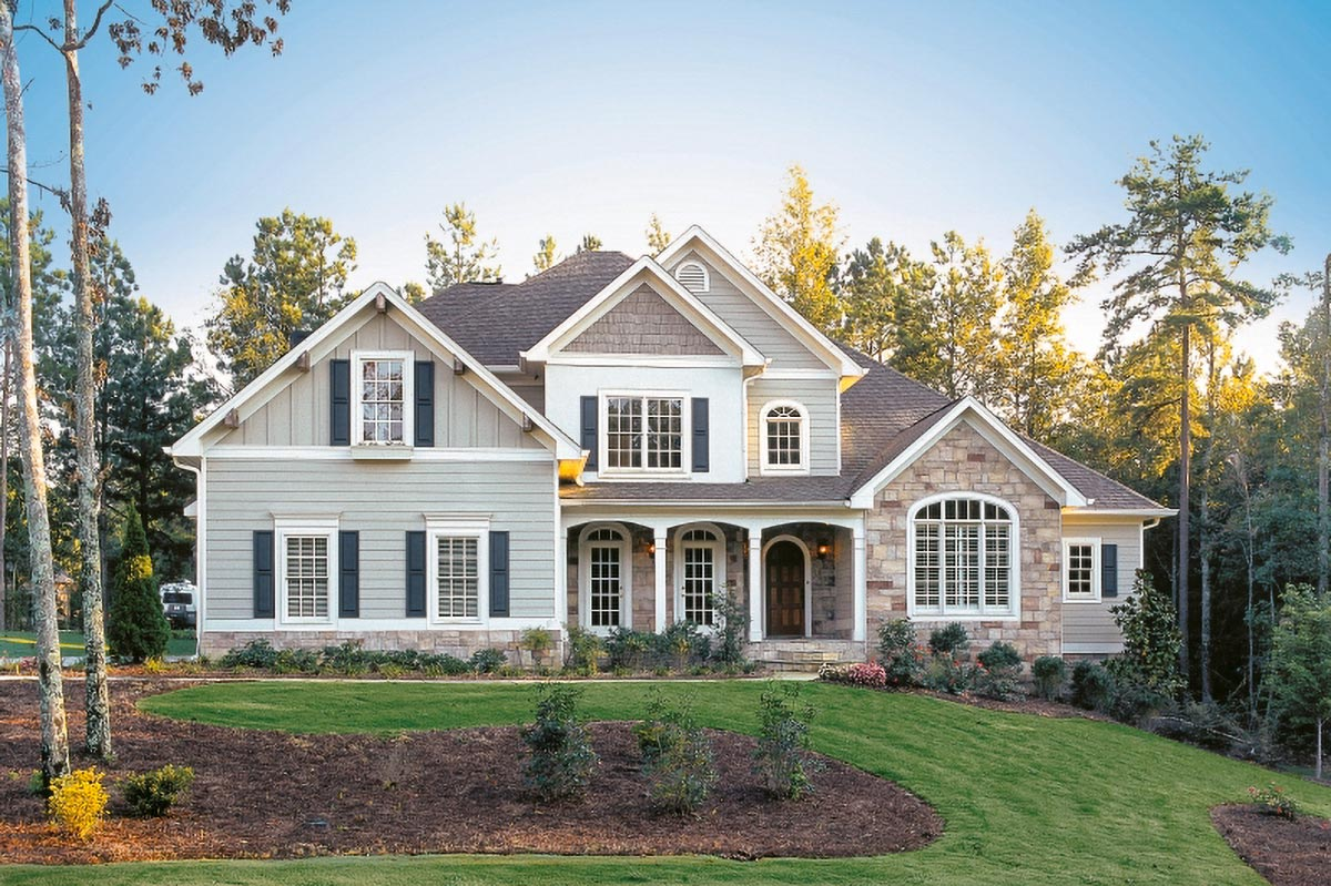 Stately Two Car Garage 92049vs: Stately 4-Bed House Plan With Angled Kitchen And Side