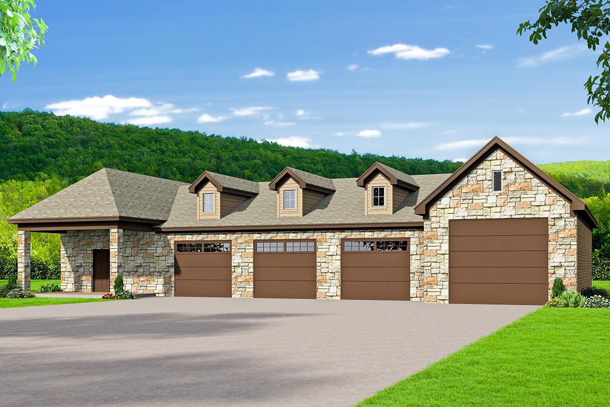 4 Car Detached Garage Plan With Rv Parking And Workshop