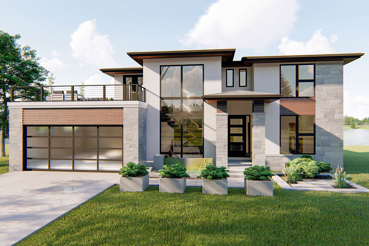 4-Bed Modern Prairie-Style House Plan With Massive Balcony