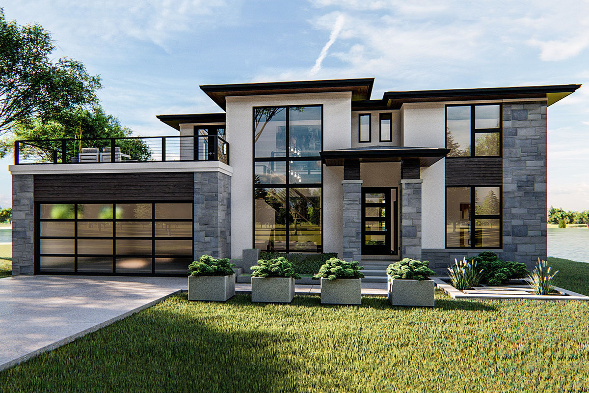 4-Bed Modern Prairie-Style House Plan with Massive Balcony ...
