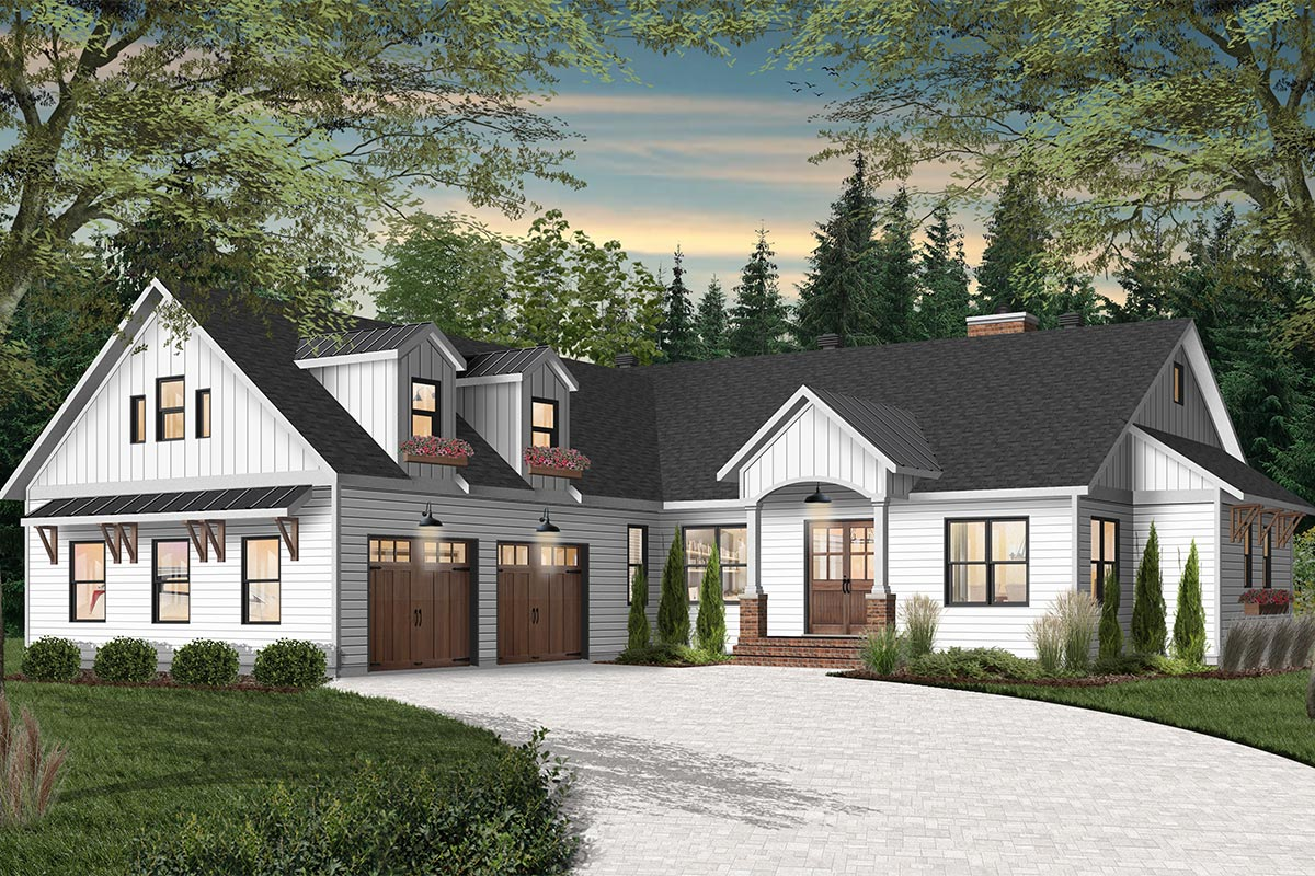 New American House Plan with Courtyard Garage with Game ...