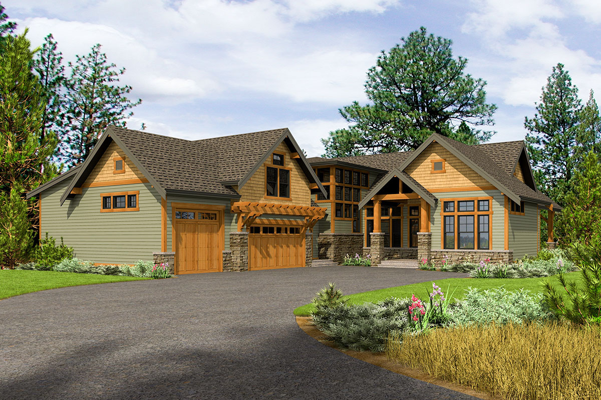 Rustic 4 Bed House Plan With 3 Car Garage 23790jd