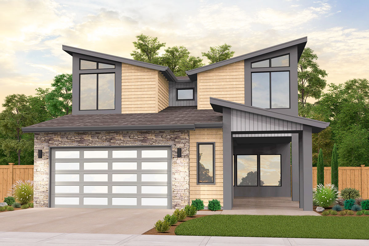 Modern House Plan with Courtyard Entry and an Optional Den ...