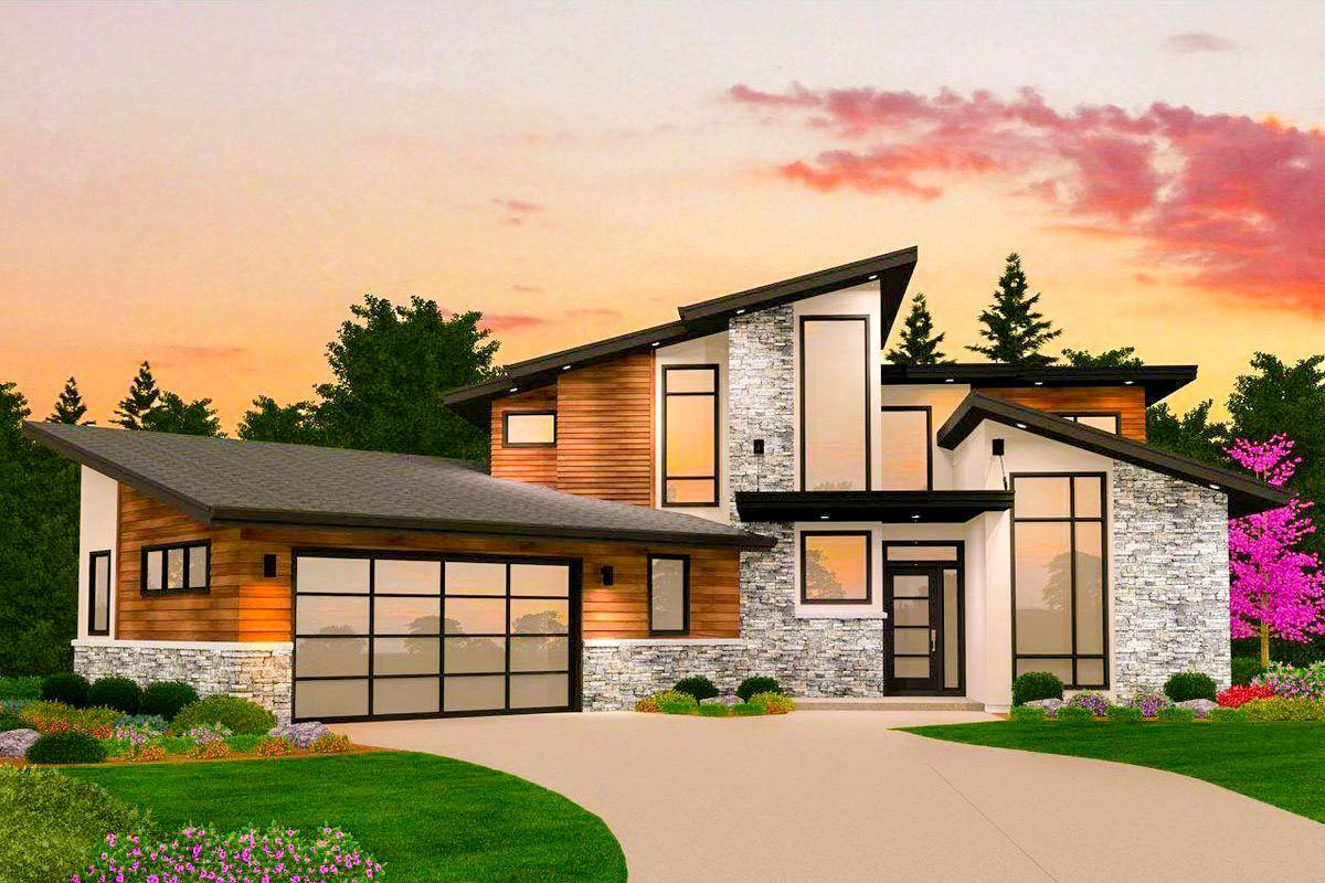 Dynamic 4-Bed Modern House Plan with Finished Walkout ... on Modern House Ideas  id=85635
