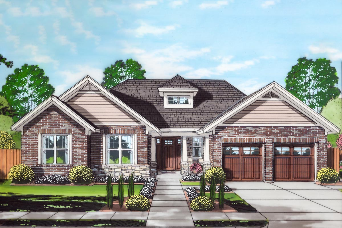 Step-Saving One-Story Craftsman Home Plan - 39288ST ...