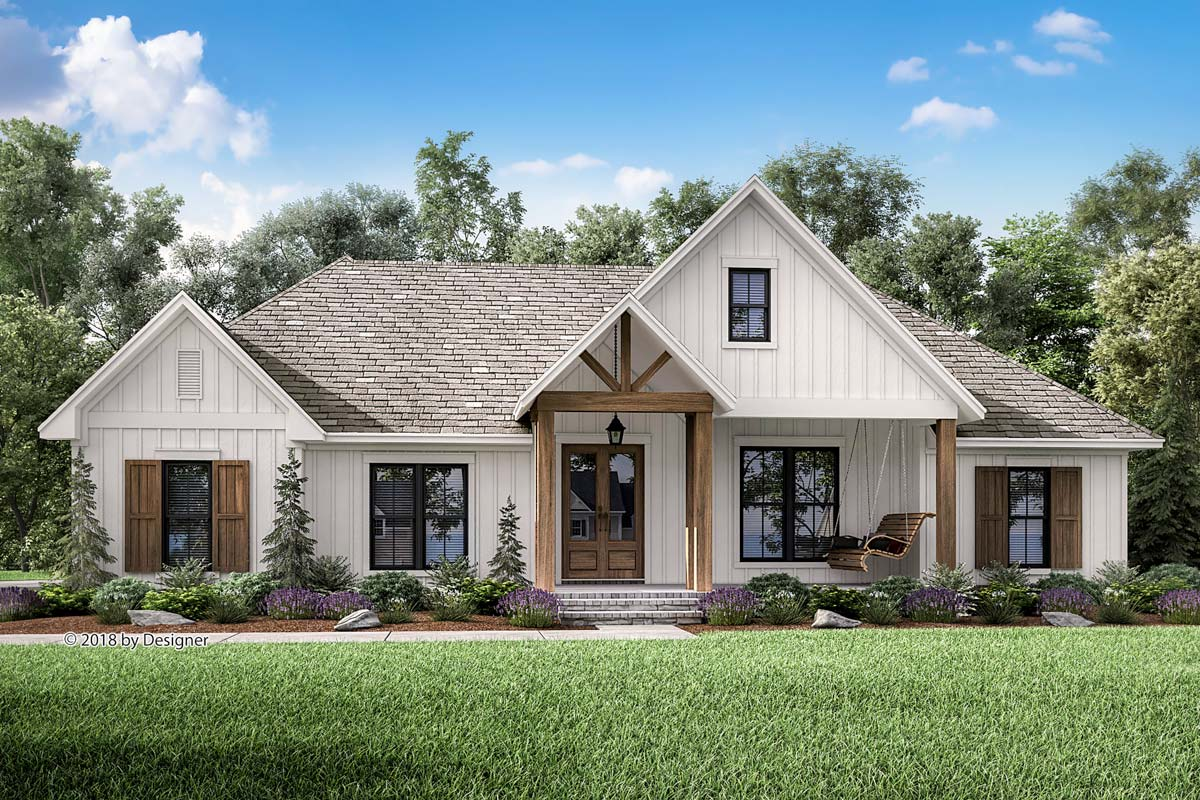 Country Craftsman House Plan with Split Bedroom Layout ...