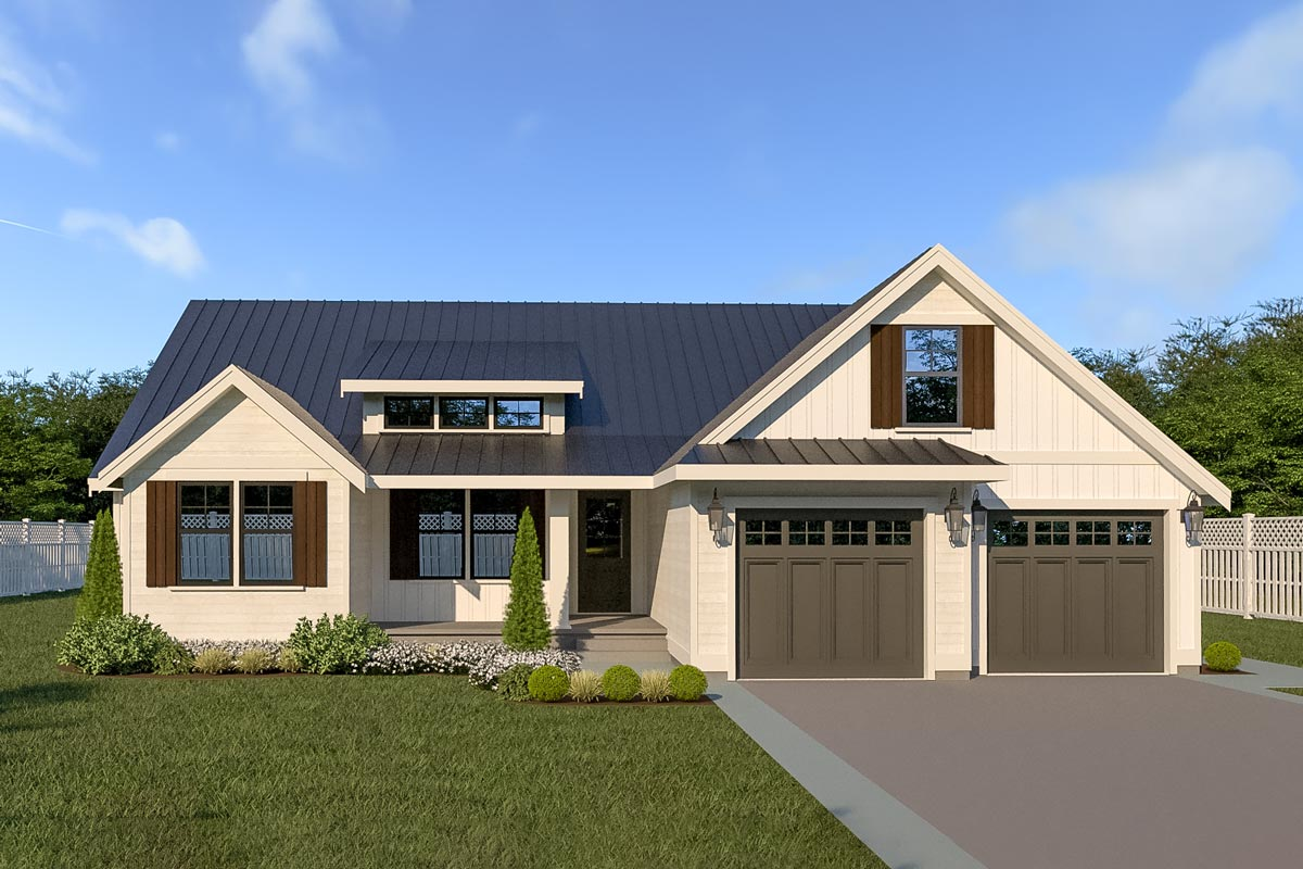 Ideal 3 Bed New American House Plan With Bonus Level