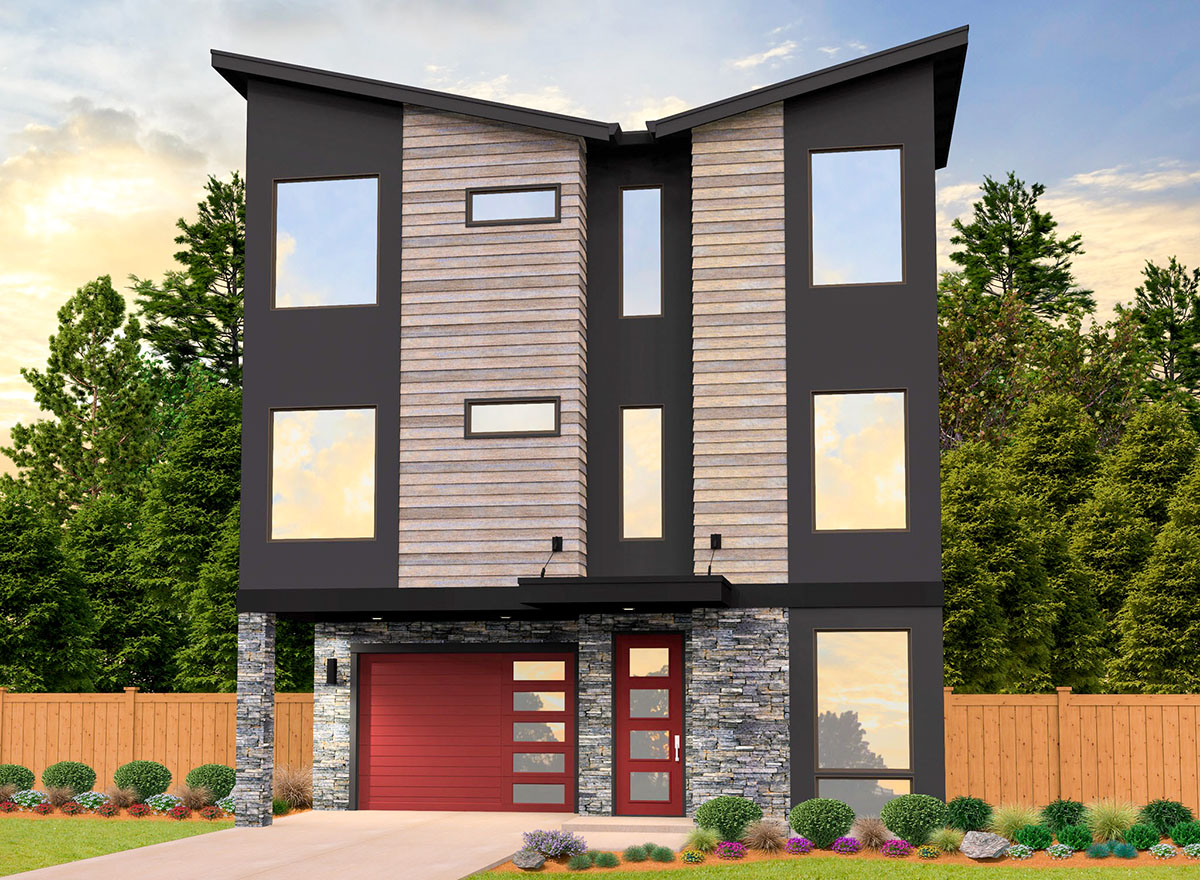 3-Story Modern House Plan With Two Master Suites