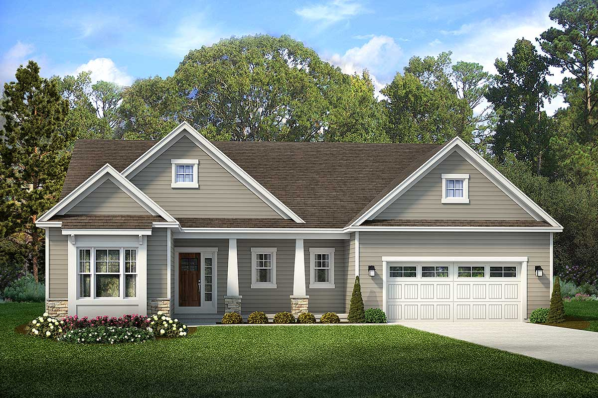 Exclusive 3-Bed Ranch House Plan With Covered Porch