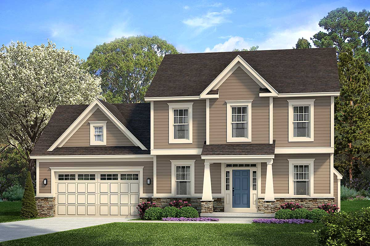 Two-Story Colonial House Plan With Second-Level Master Bed