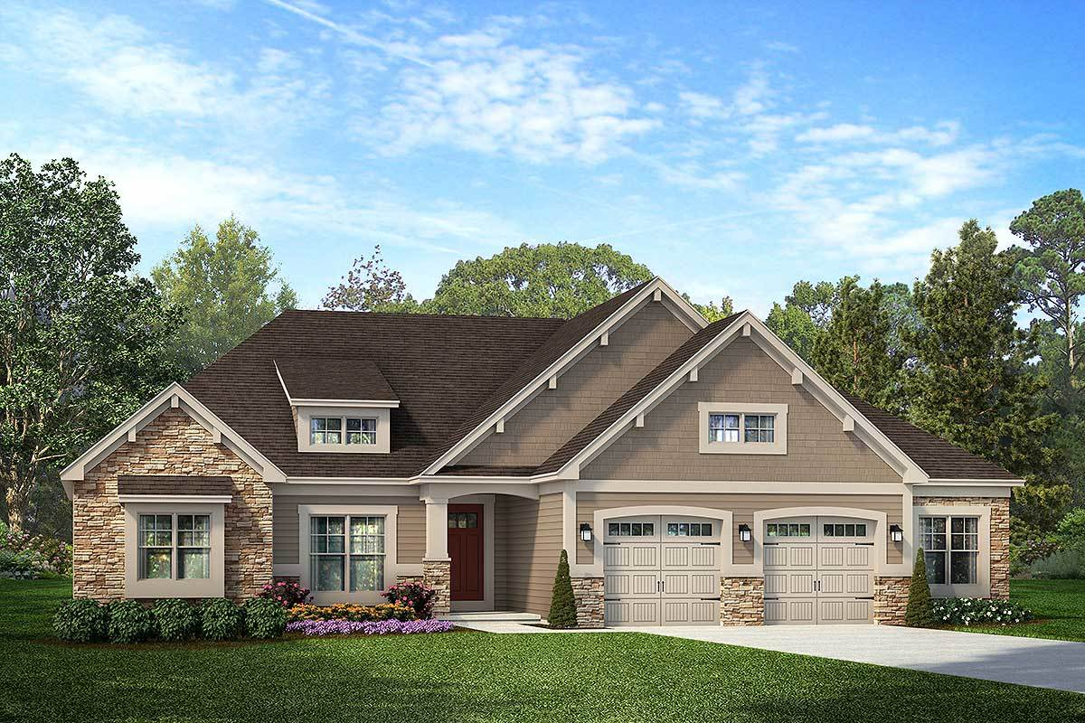 Exclusive One-Level Craftsman House Plan With Vaulted