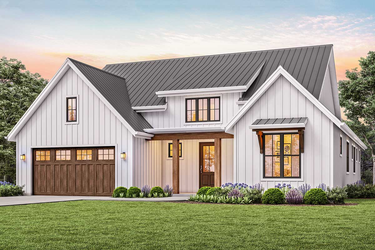 3-Bed New American House Plan with Vaulted Great Room ...
