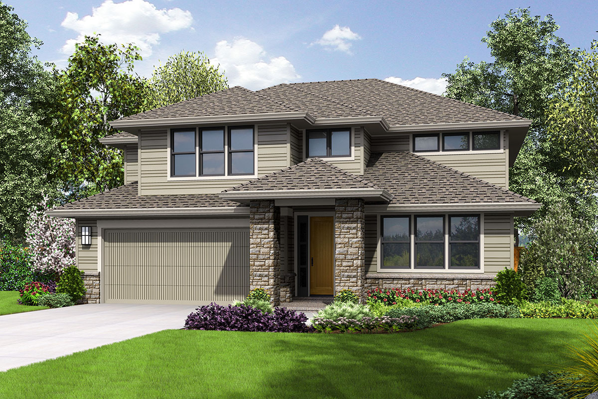 Contemporary Two-Story House Plan with Bonus Room ...