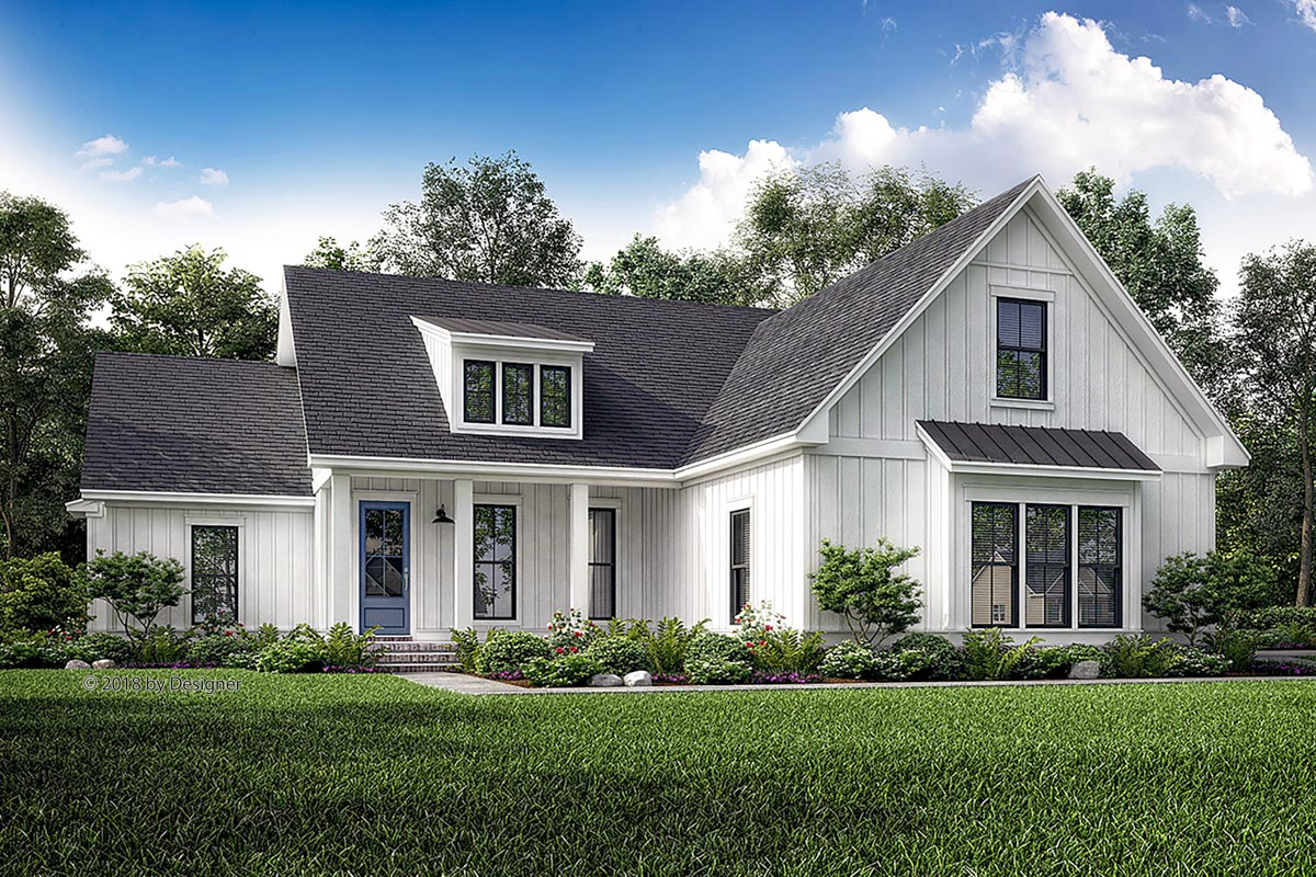 Exclusive Split-Bed Cottage House Plan With Shed Dormer