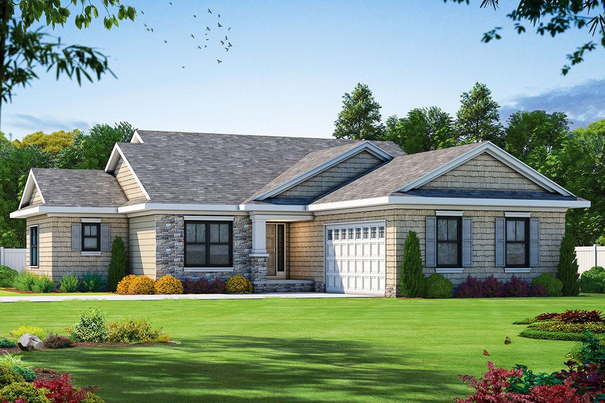 Craftsman Ranch Home Plan Split Bedroom Layout Architectural Designs House Plans