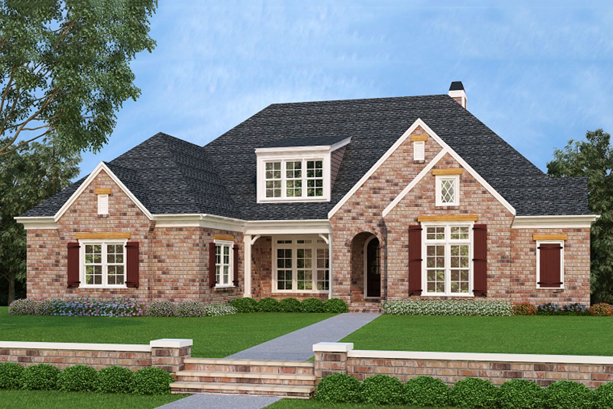 Two Story French Country Home Plan With First Floor Master
