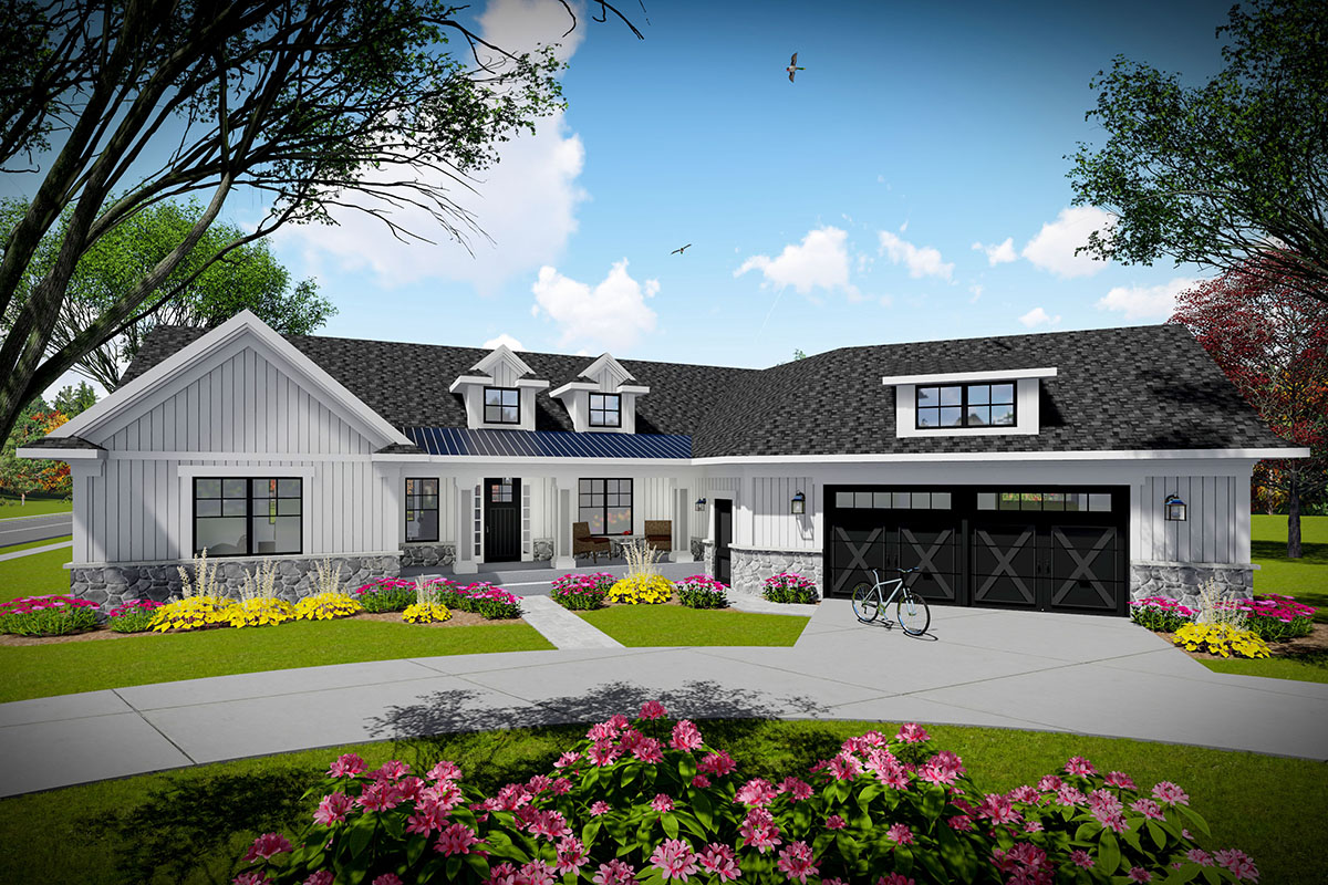 3-Bed Modern Farmhouse Ranch Home Plan with Angled Garage ...