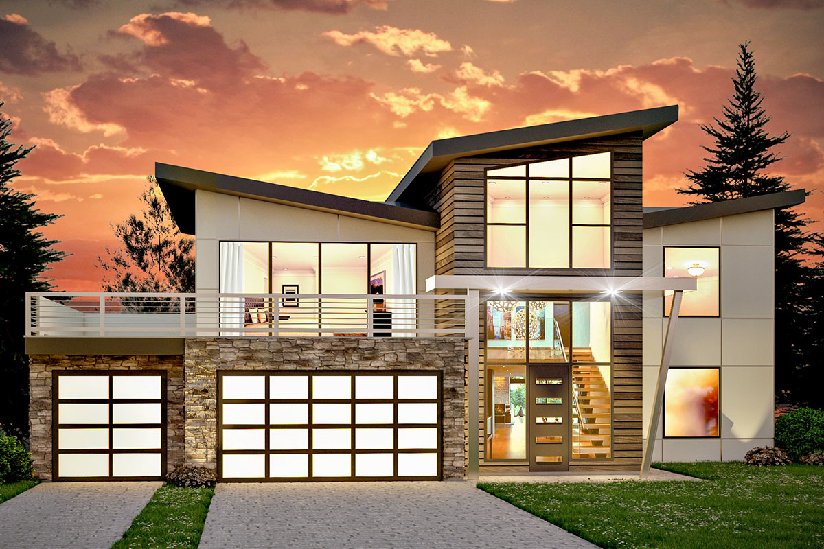 Striking Modern Two-Story House Plan with Second-Story Sun ...