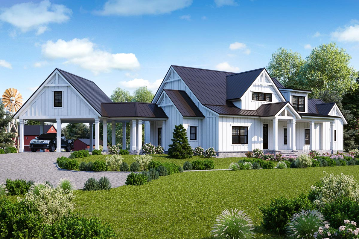 Exclusive Modern Farmhouse Plan with Loft Overlook ...