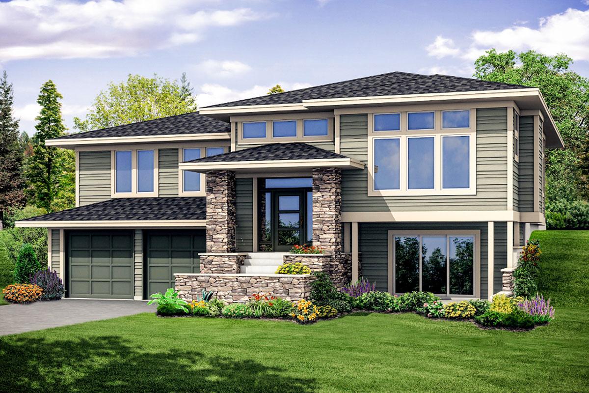 Modern Prairie House Plan with Split Level Entry - 72926DA ...