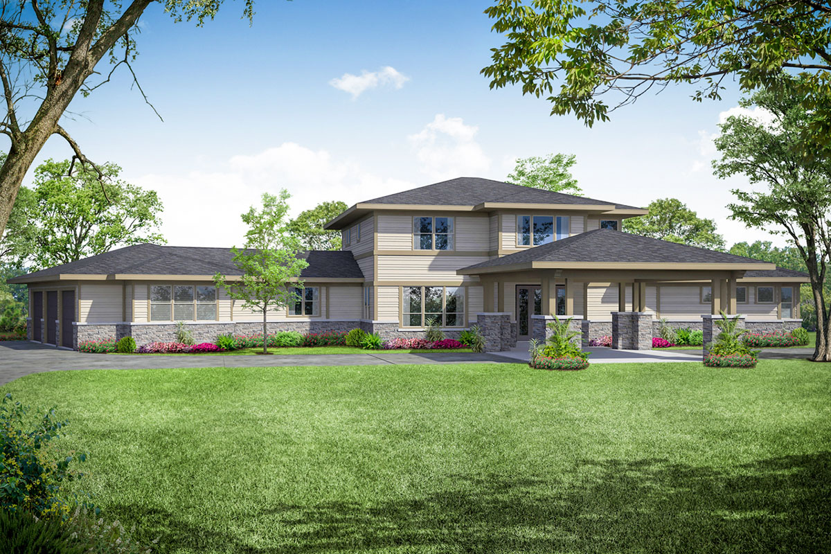 Contemporary Prairie-Style Home Plan with Upstairs Play ...