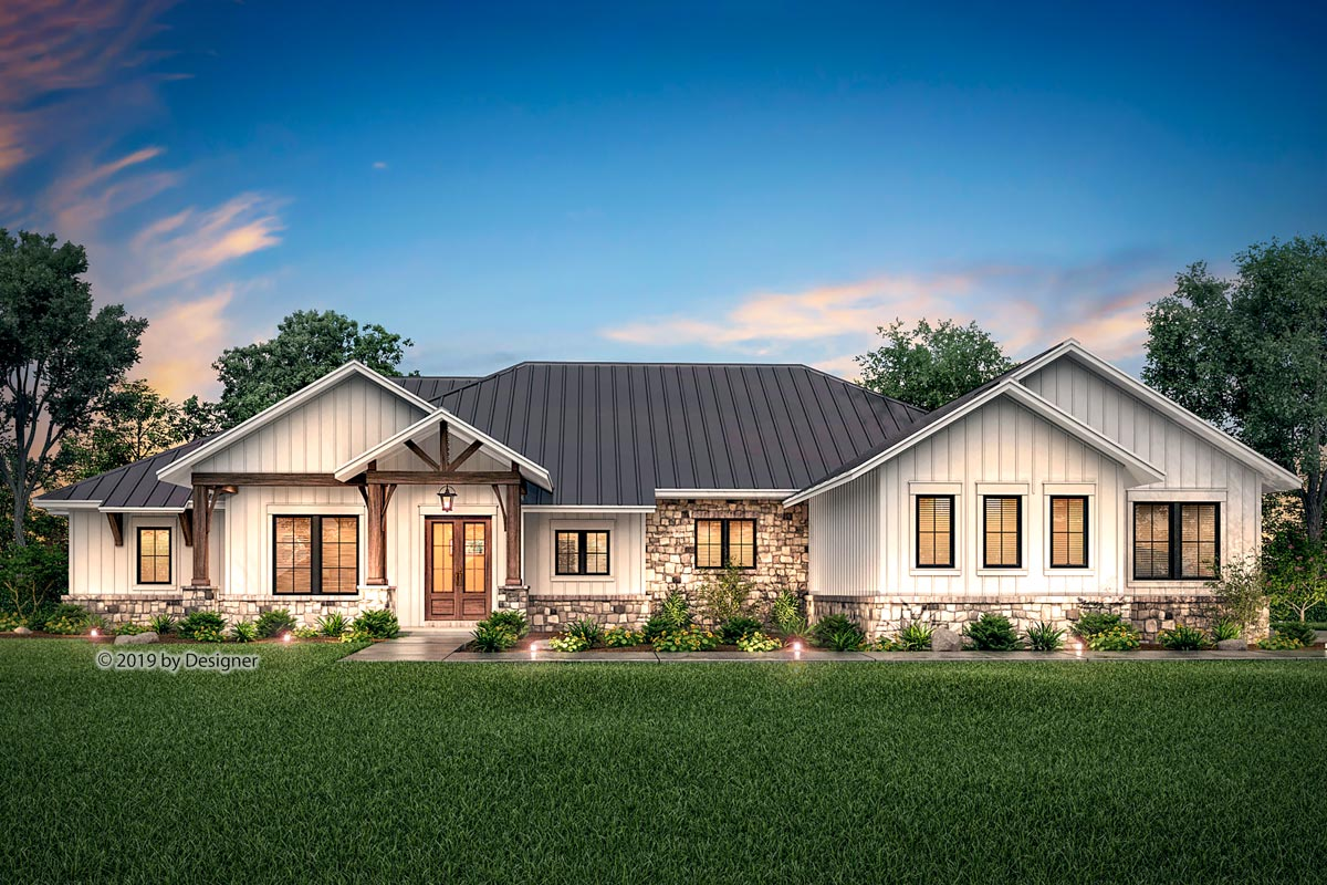 Hill Country Ranch Home Plan with Vaulted Great Room ...