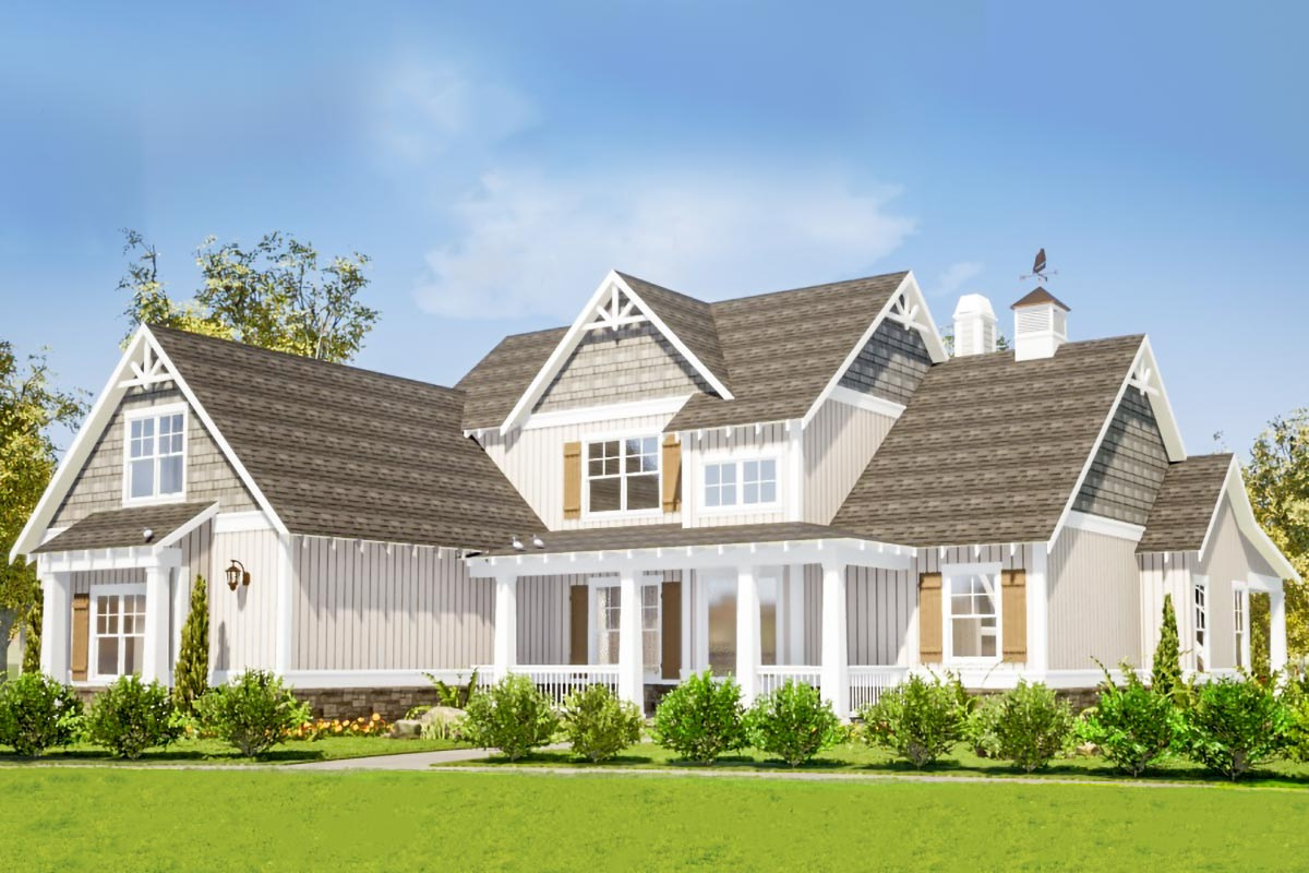 Two-Story Craftsman Home Plan with Main-Floor Master ...