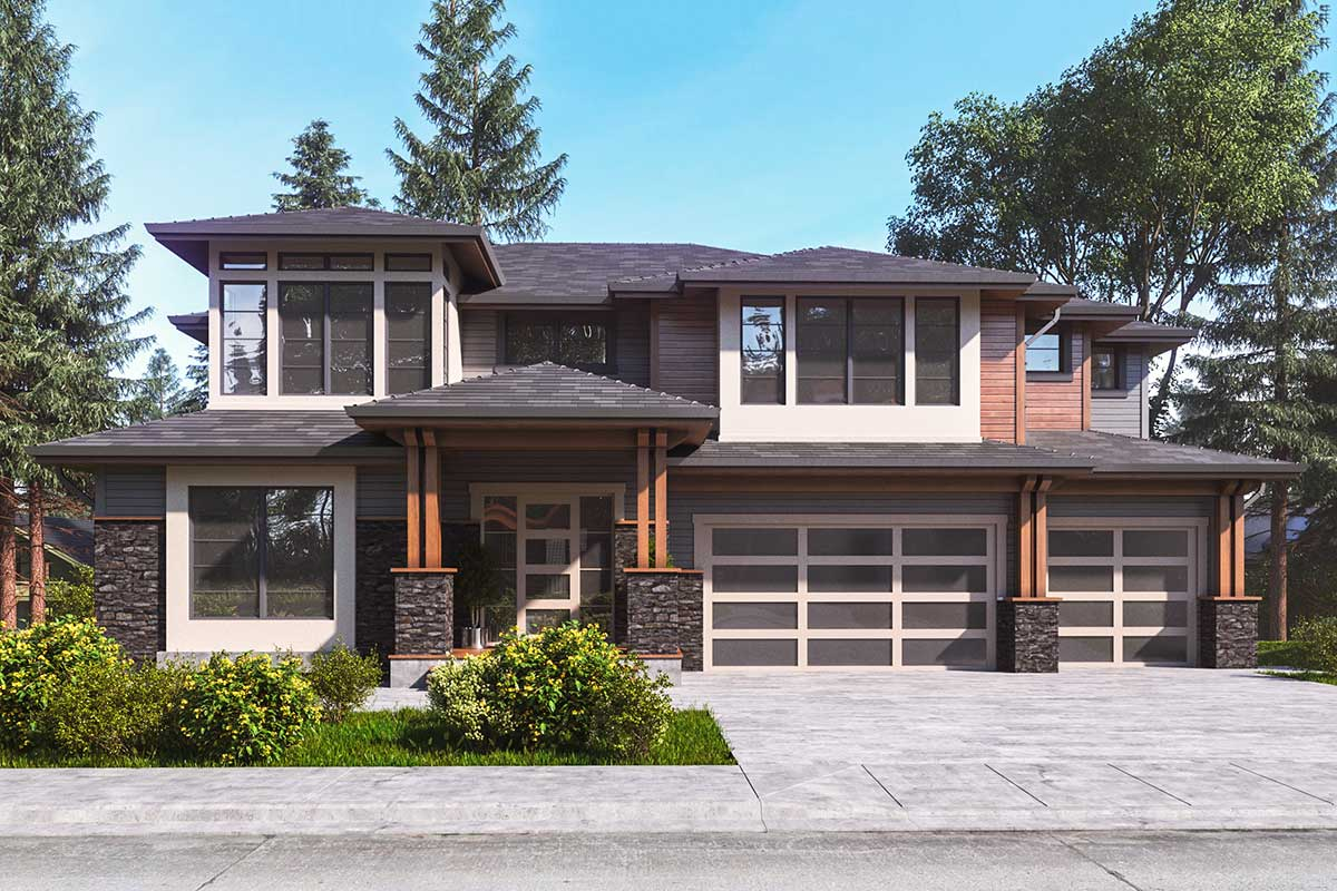 5-Bed Modern Prairie Home Plan with 3-Car Garage ...