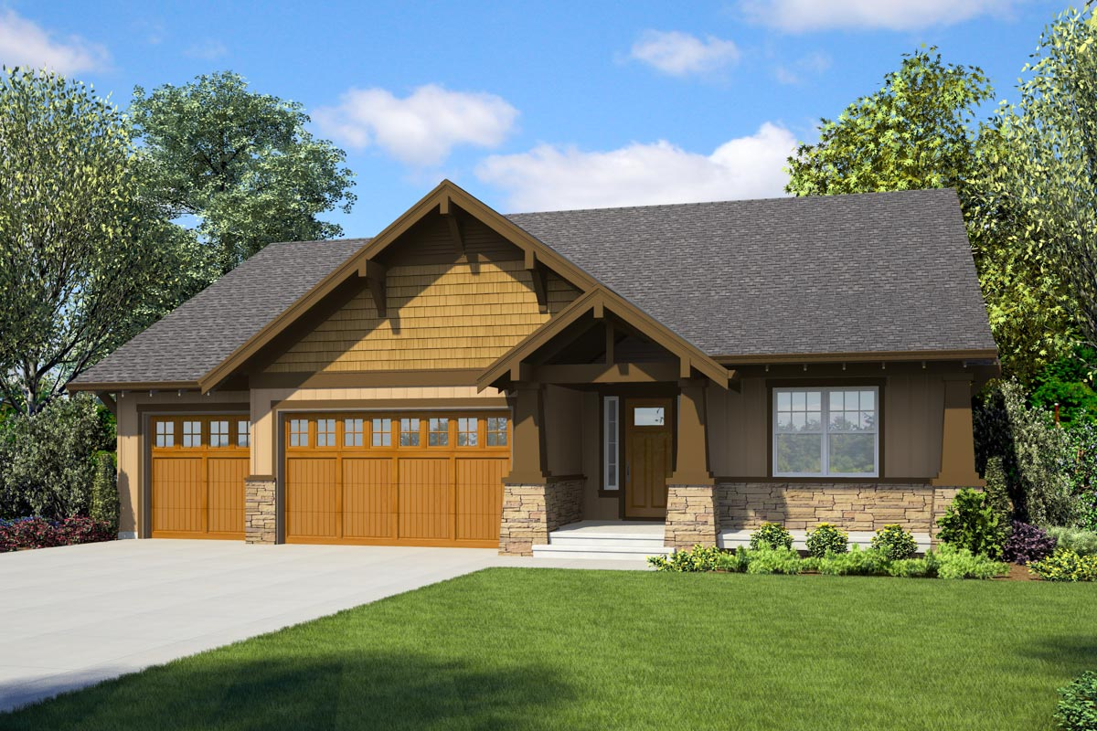 Craftsman Ranch Home Plan With Two Master Suites