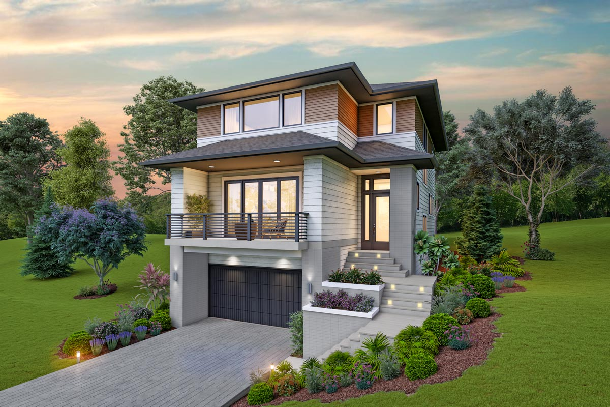 Contemporary House Plan for the Up-Sloping Lot - 69734AM ...
