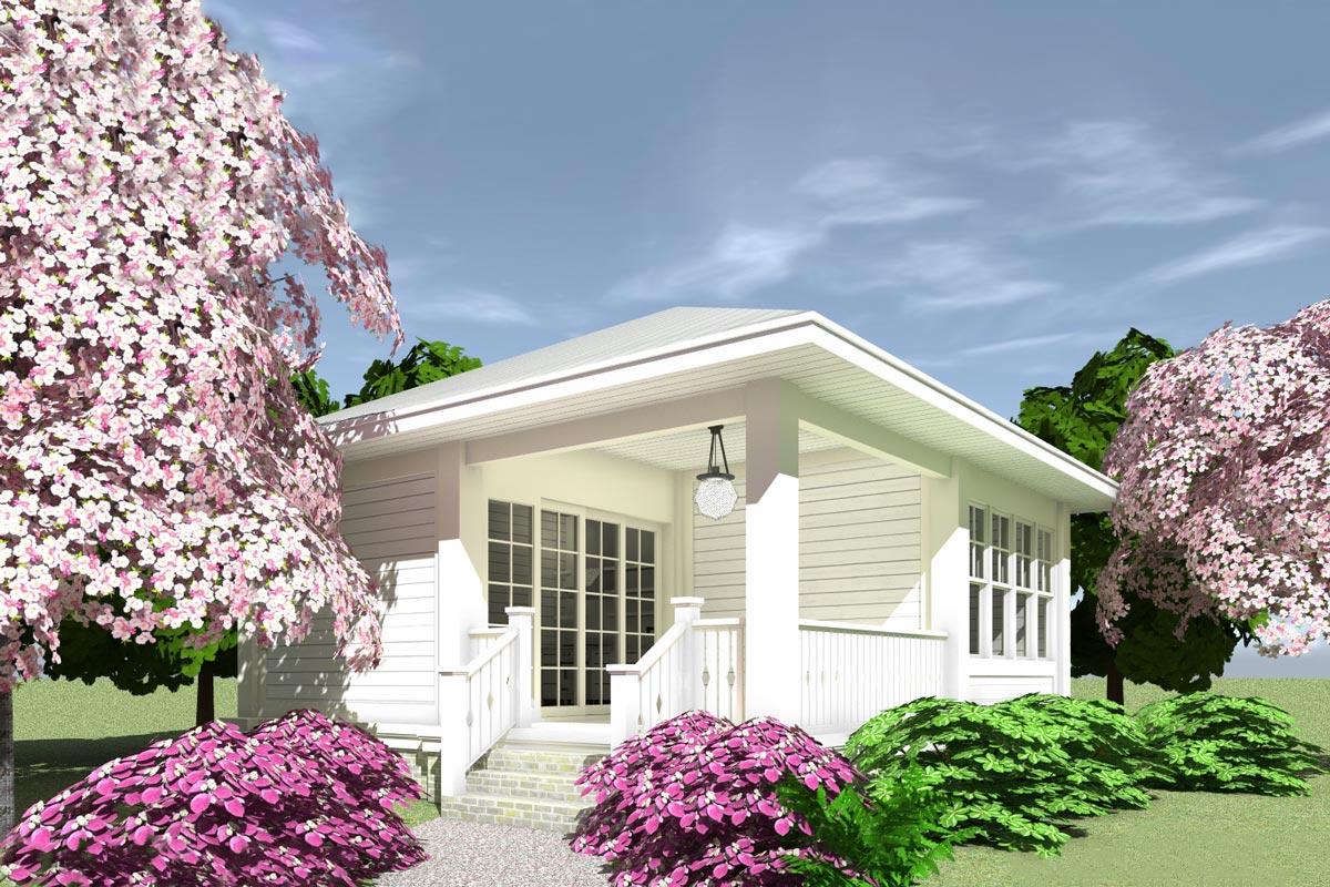Tiny House Plan with Corner Porch - 44171TD ...
