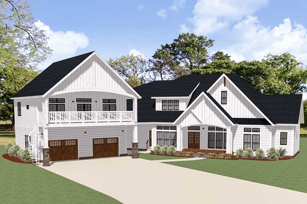 house plans with apartment attached new american house plan with separate garage apartment 46384la architectural designs house 1020