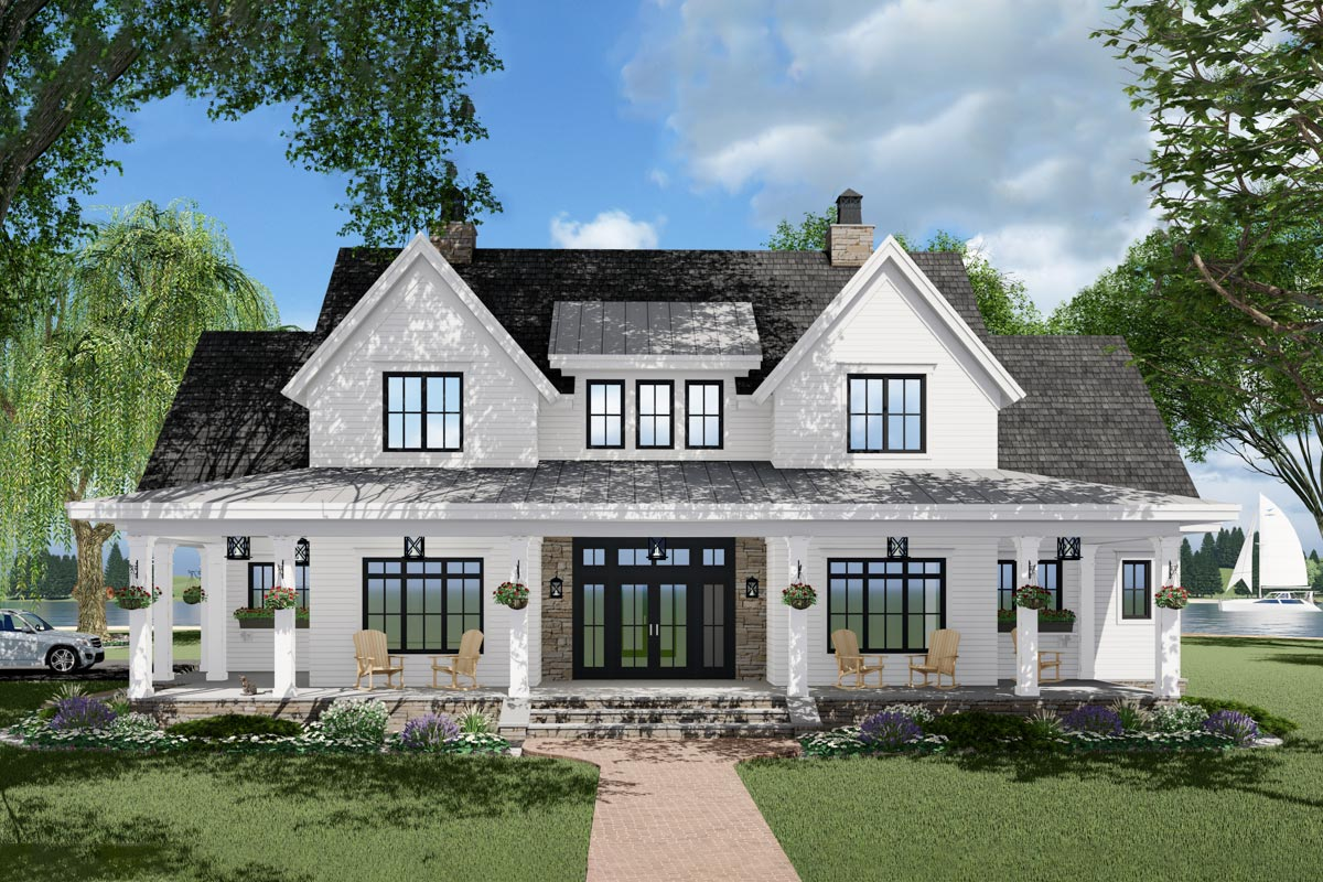 3-Bed Modern Farmhouse Plan with French Door Greeting ...