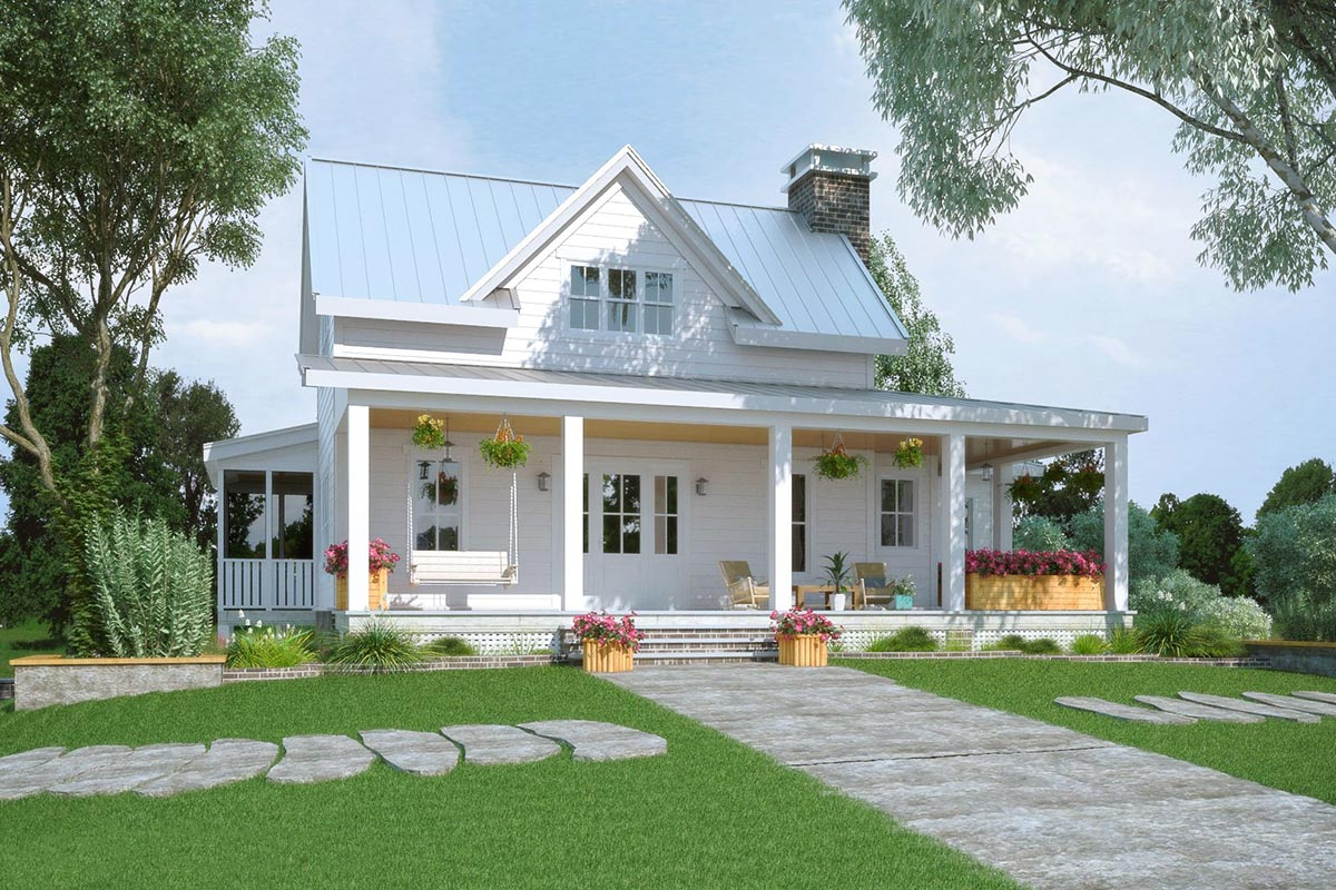Exclusive Modern Farmhouse Plan with Partial Wraparound ...