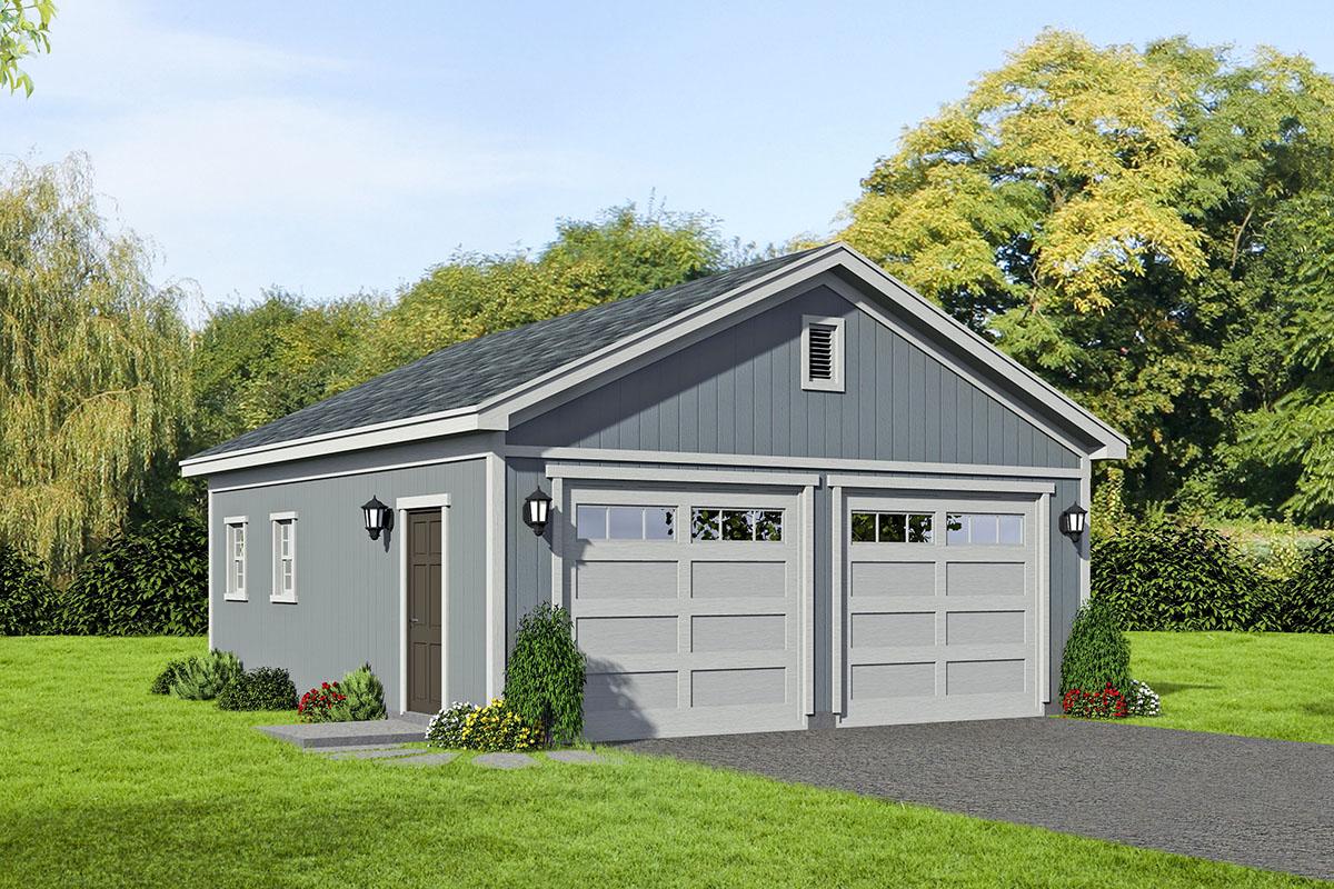2 Car Detached Garage with 2 Garage Doors 68598VR
