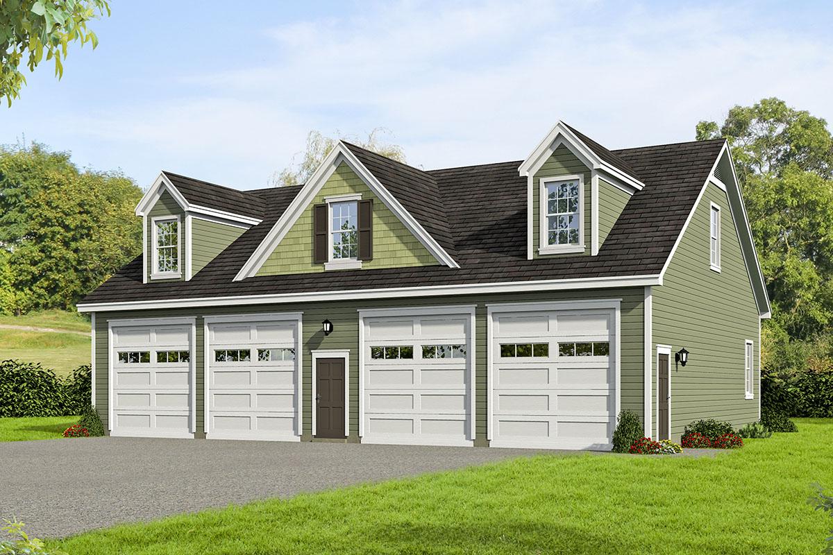 4 Car Garage  Plan  with Large Loft 68600VR