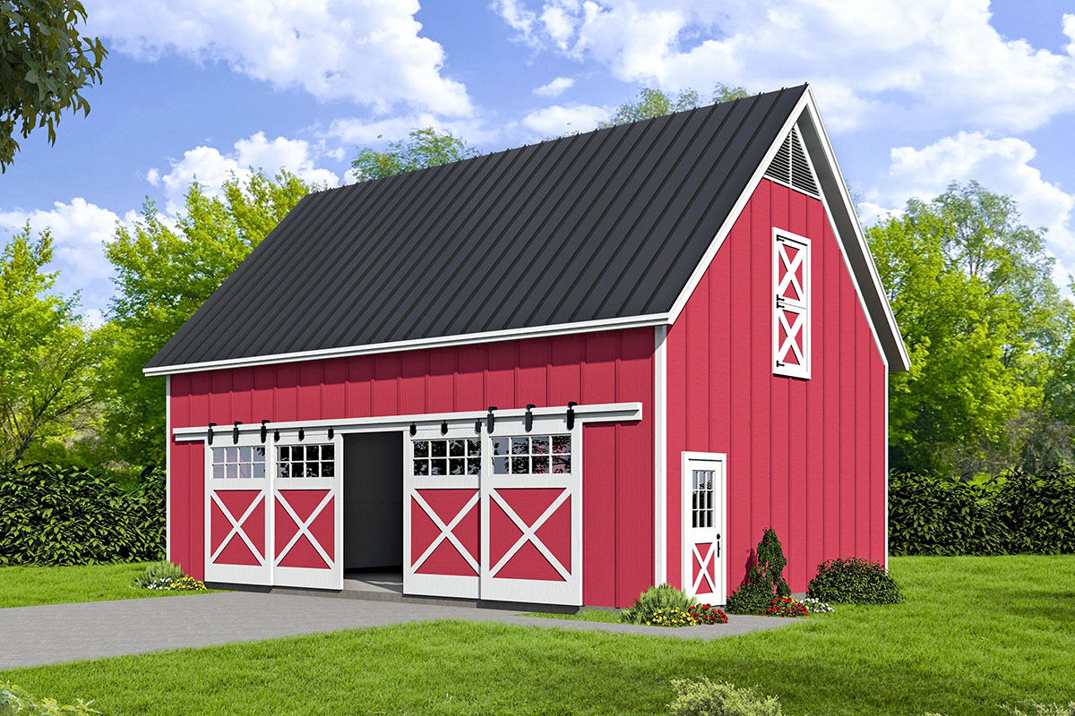 Expanded Barn Style Garage With Loft 68601VR