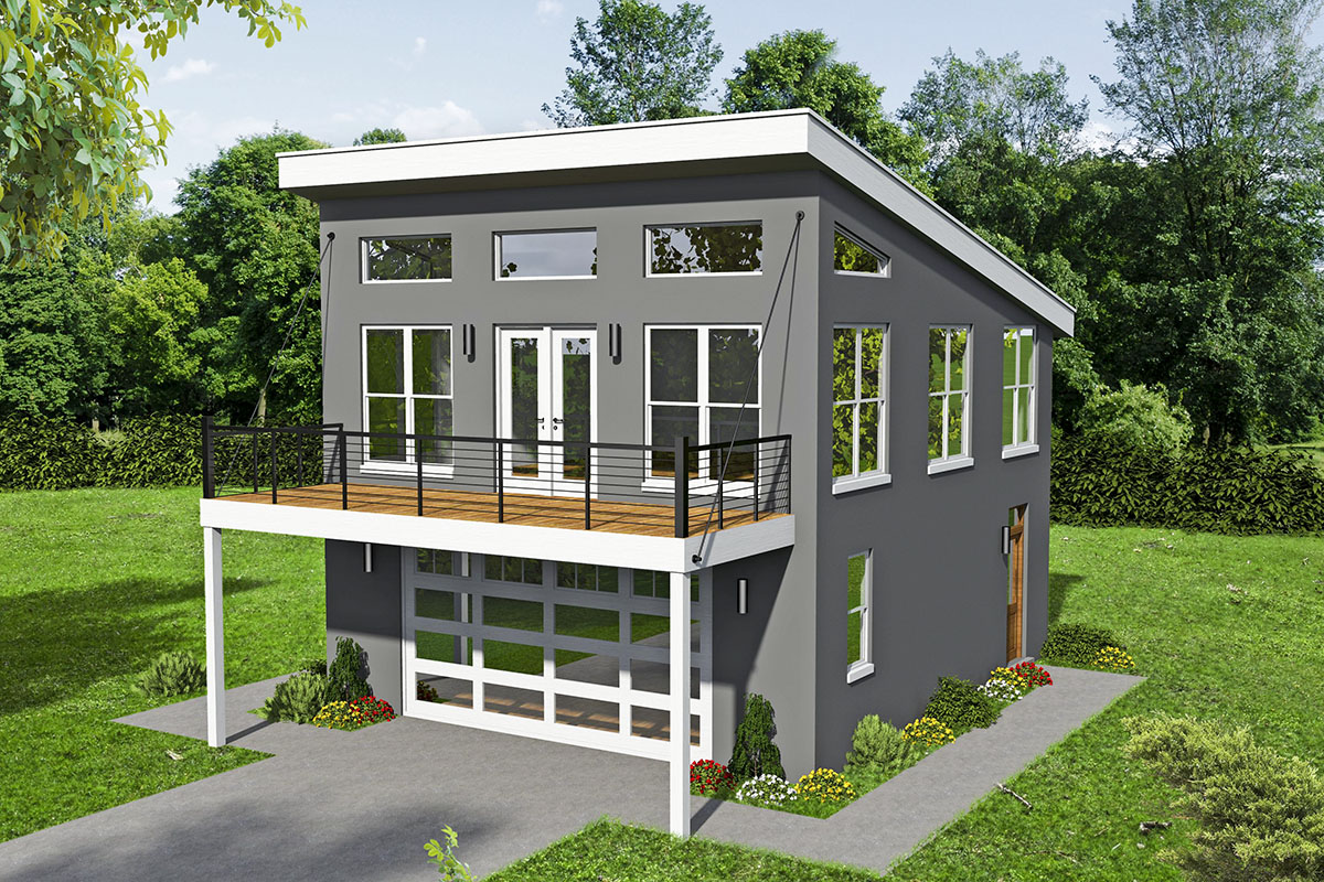 Modern Carriage House Plan with Sun Deck - 68605VR ...
