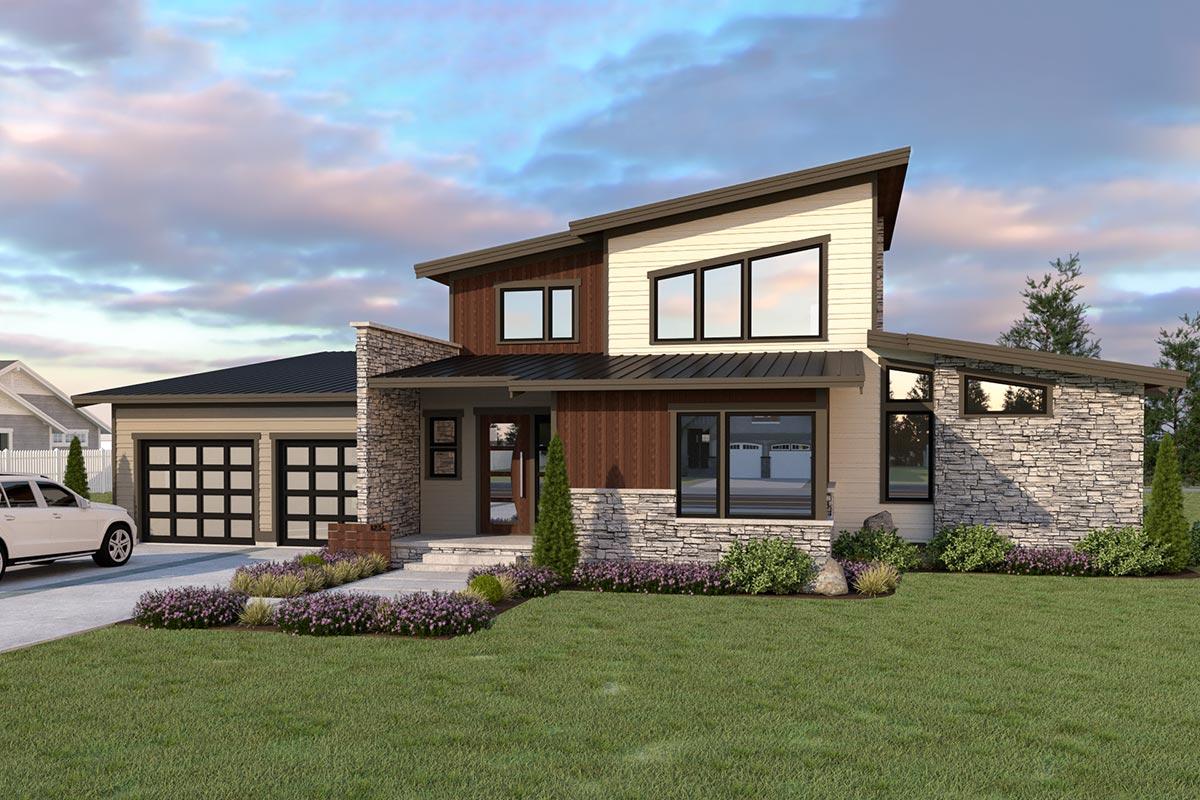 Efficient Modern Home Plan with Drive-Through Garage ...
