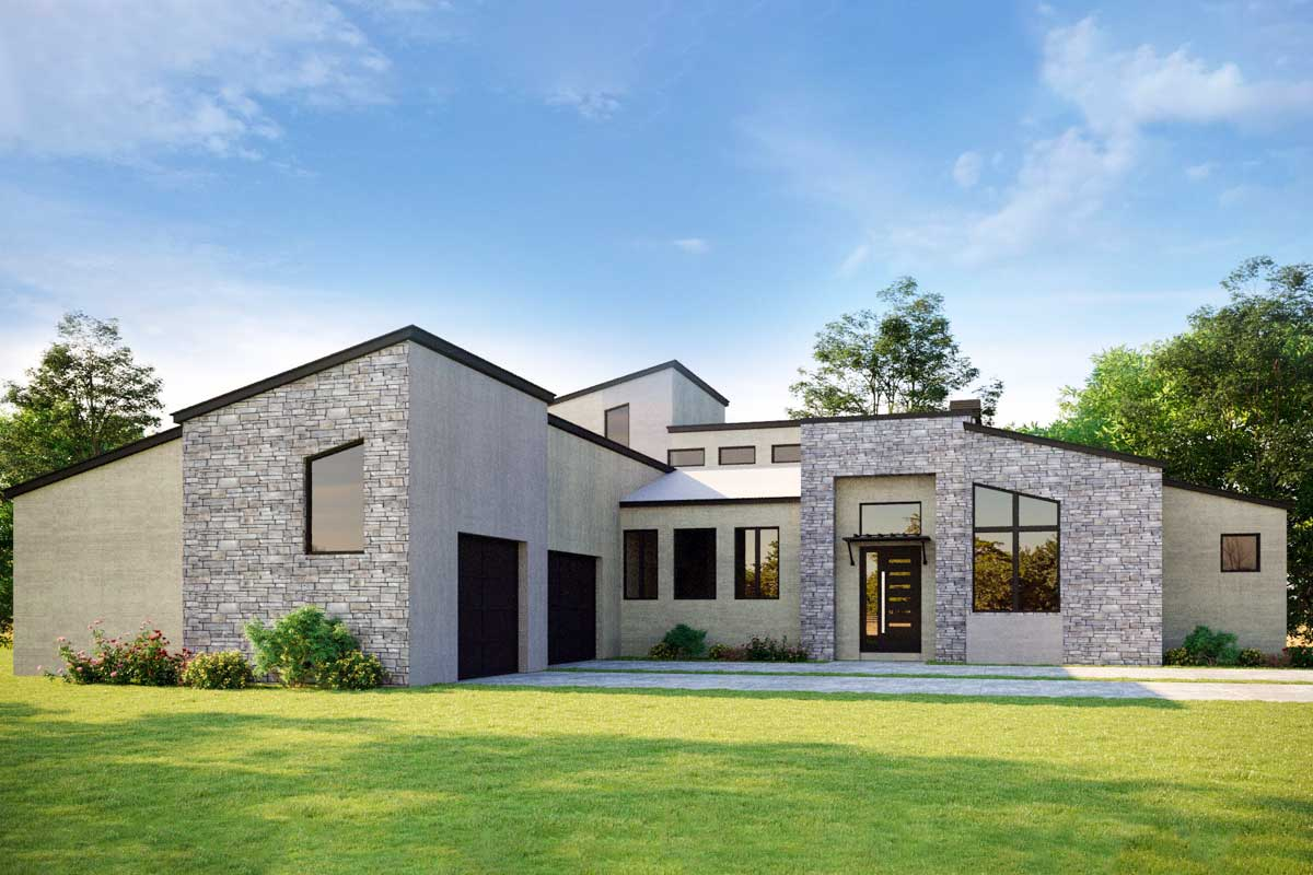 Modern Hill Country House Plan with Open Air Upstairs ...