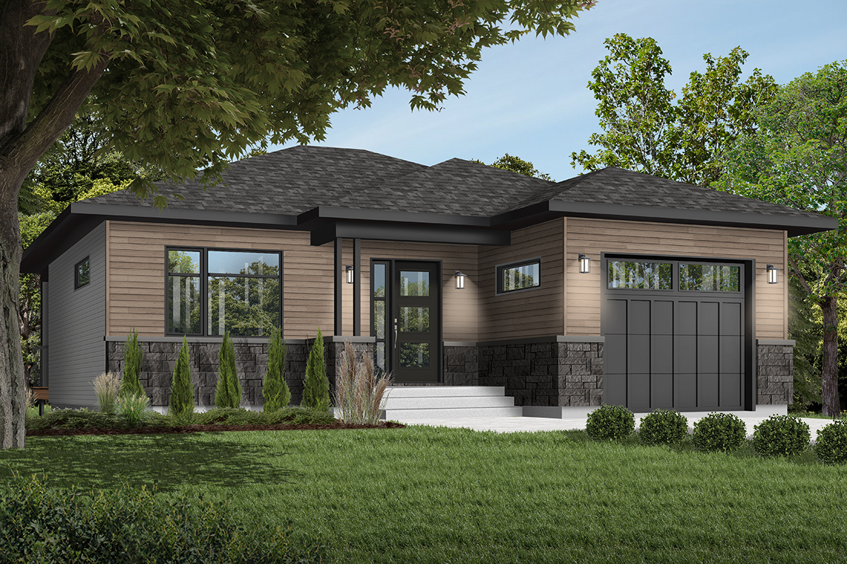 One-Bed Contemporary Ranch Home Plan - 22549DR ...