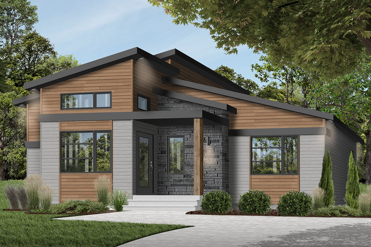 Modern Ranch House Plan with Cozy Footprint - 22550DR ...
