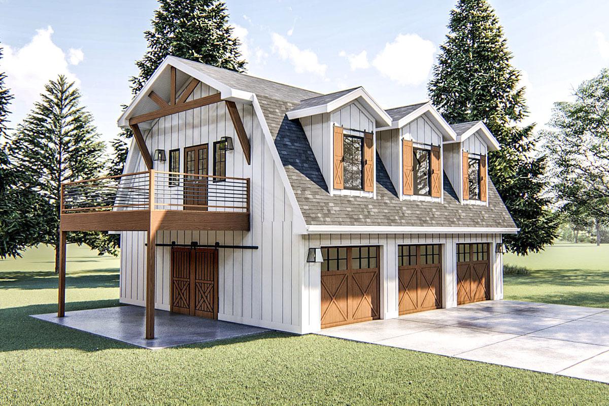 Modern Barn-like Garage Apartment Plan - 62766DJ ...