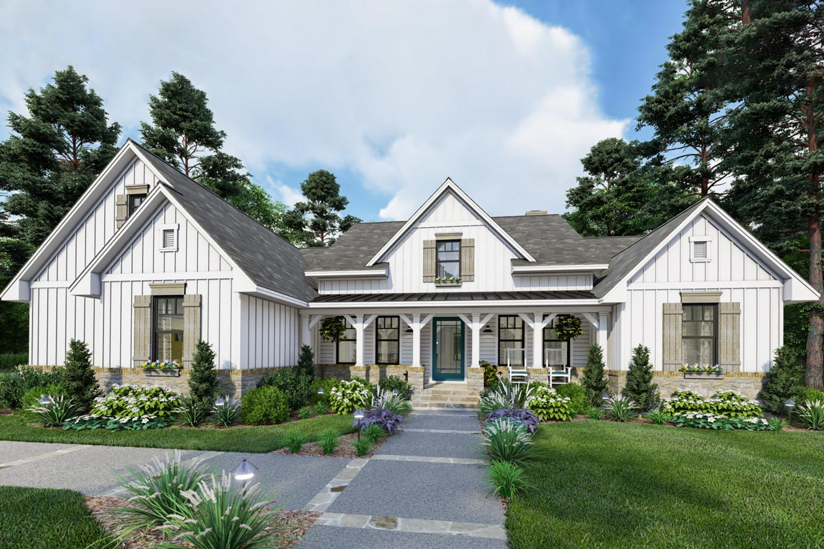 New American Farmhouse Plan With Split Bedroom Layout 16910wg Architectural Designs House