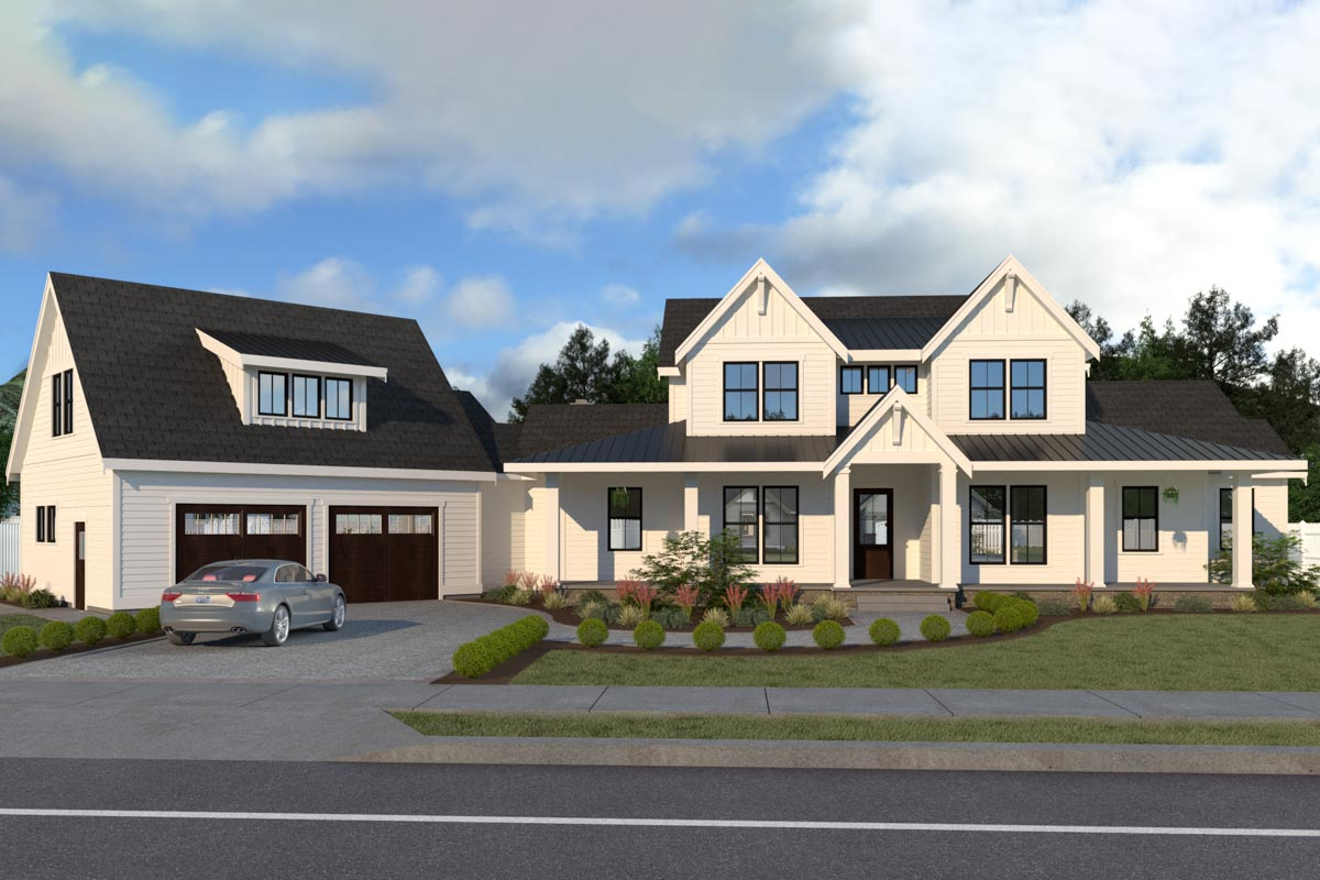 Beautiful 3-Bed Modern Farmhouse Plan with Angled Garage ...